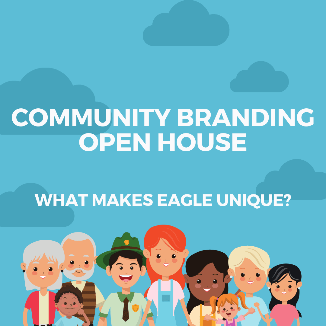 "cartoon people over a blue background and the words ""community branding open house"""