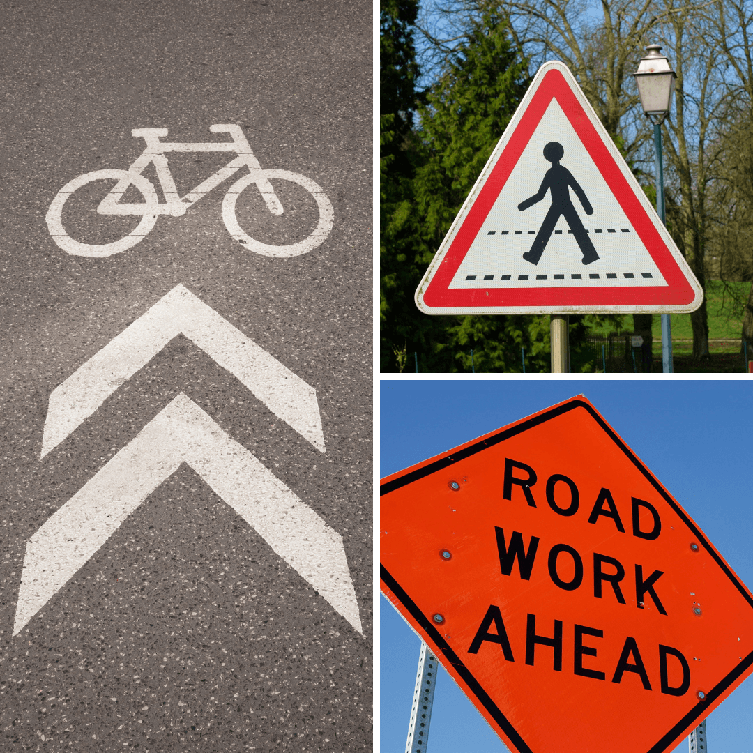 A collage featuring a road work sign, a pedestrian sign, and a bike lane sign.