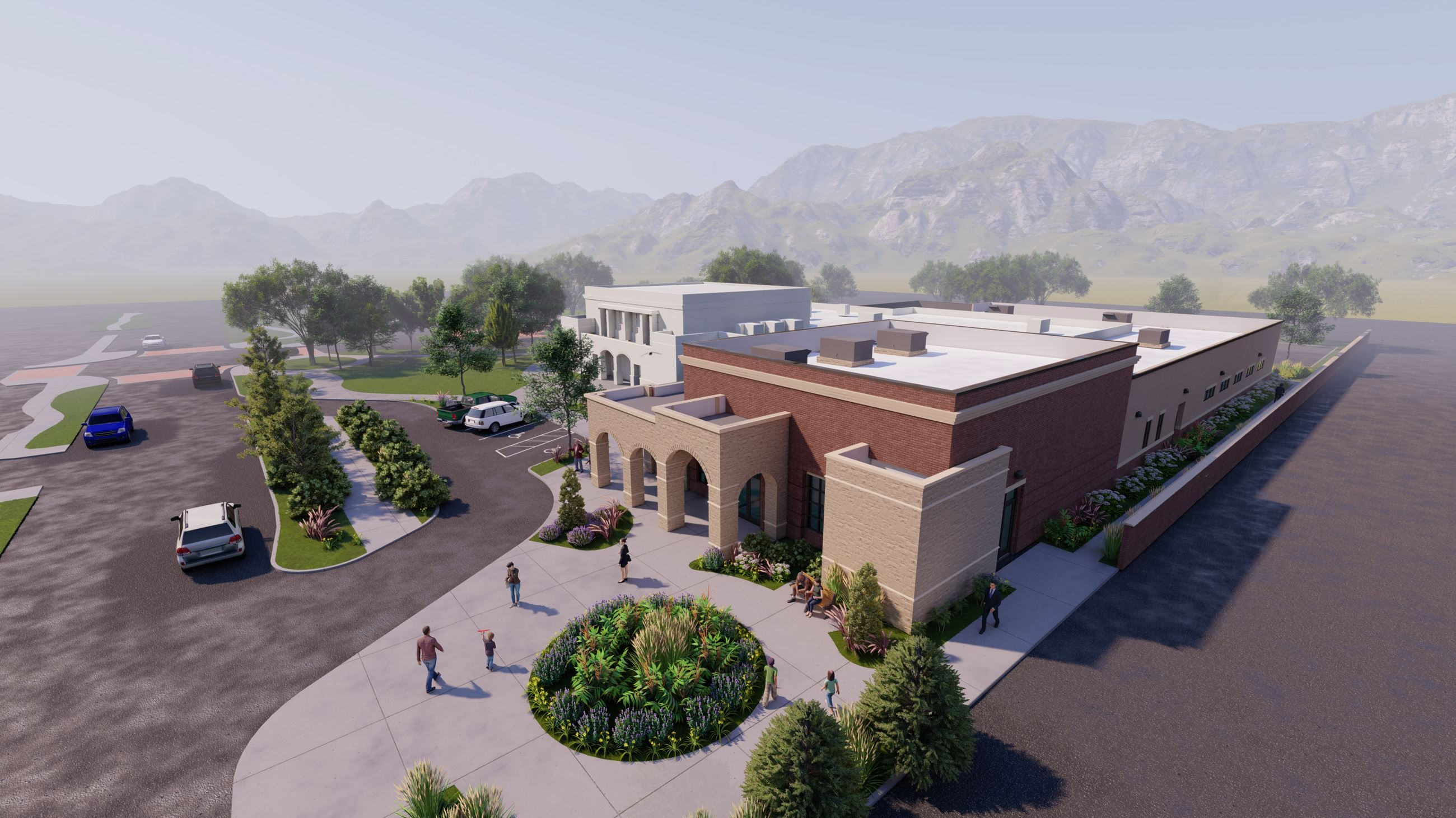A design rendering of the future community center entrance at city hall. It is red and tan brick.