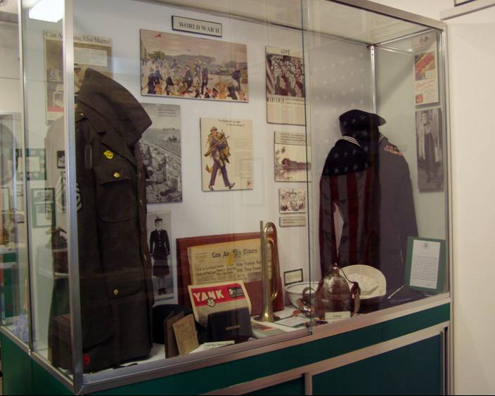 Historical Jackets on Dispaly in Glass Cabinet