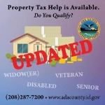 "image says, ""property tax help is available, do you qualify?"" And has a drawing of a house."