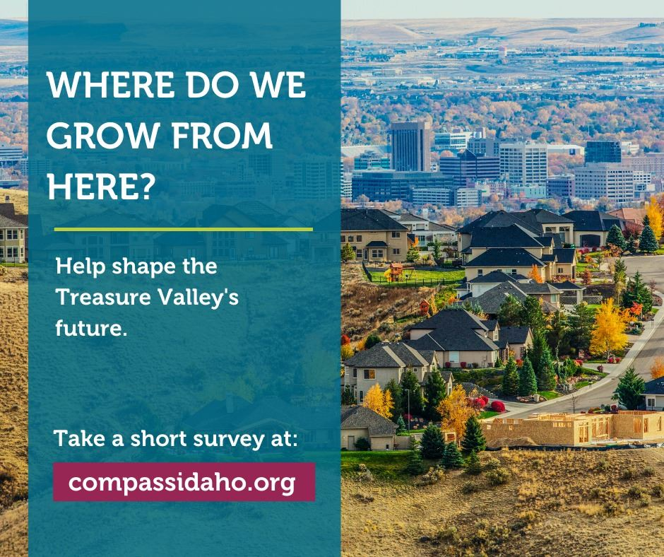 "Photo of the foothills and valley that says ""Where do we grow from here? Help shape the Treasure"