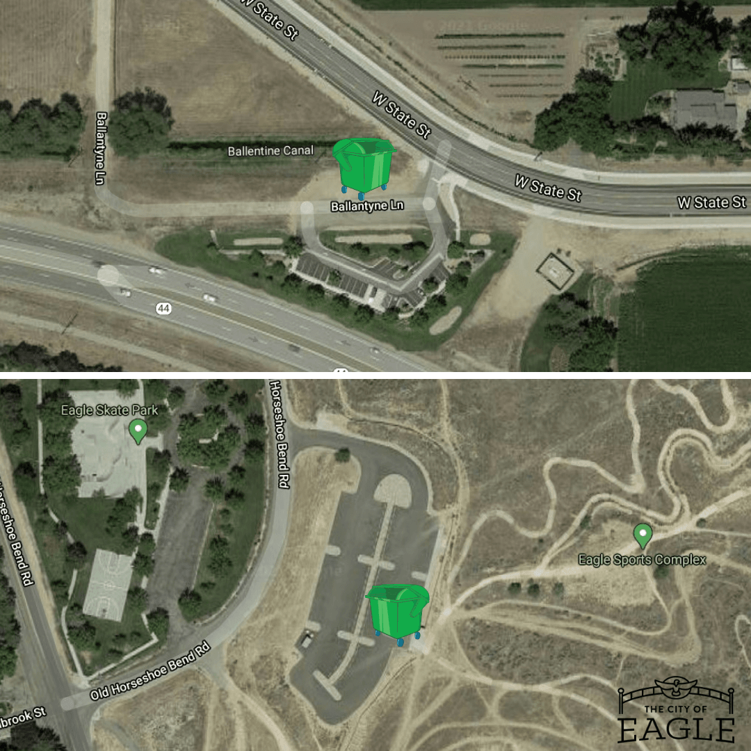 Map showing compost markers at the park-and-ride and Ada/Eagle bike park.